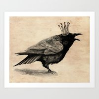 raven Art Prints featuring Raven by Anna Shell