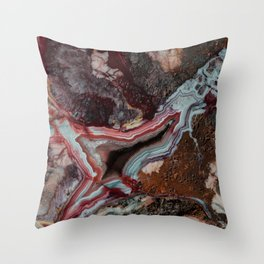 Earth treasures - patterns of colorful agate Throw Pillow