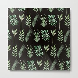 Bouquet of branches and leaves pattern,  Black background Metal Print