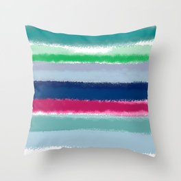 Bluish Blues 2 - Blues, Aqua, Greens, and Pinks, Stripes on White Throw Pillow