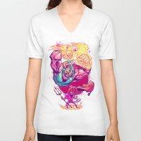 diablo V-neck T-shirts featuring LUCHADORO VS EL DIABLO by BeastWreck