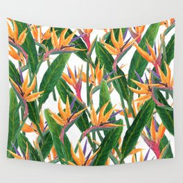 bird of paradise pattern Wall Tapestry