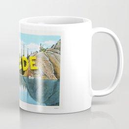 Go Outside, felt cut letters on vintage postcard Coffee Mug