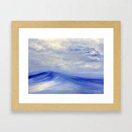 Blue Wave, clouds, Original painting, seascape, Acrylic, blue, white, Wall Art, décor, gift Framed Art Print
