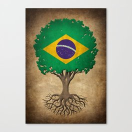 Vintage Tree of Life with Flag of Brazil Canvas Print