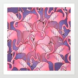 Cute graphic flamingos Art Print
