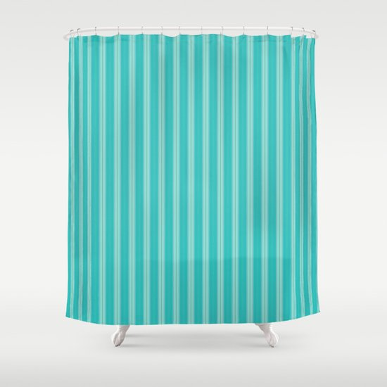 Bright Aqua And Turquoise Stripes Shower Curtain By Sheila