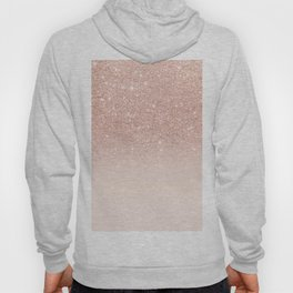 Rose gold faux glitter pink ombre color block Hoody