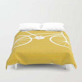 Yellow Bike by Friztin Duvet Cover