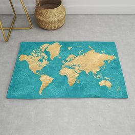 """Detailed wold map with zodiac constellations, """"Lexy"""" Rug"""