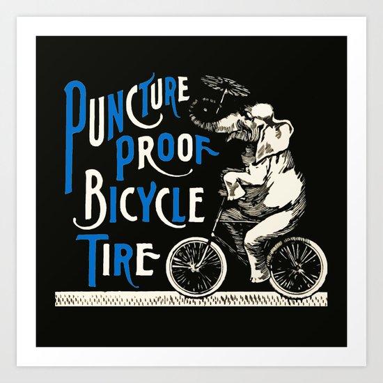 Vintage Elephant on Bicycle with Umbrella Art Print