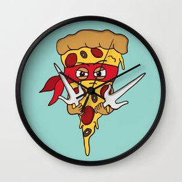 Red Ninja Pizza Wall Clock