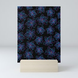 Outlined big purple and blue flowers Mini Art Print
