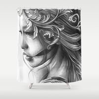 asian Shower Curtains featuring Asian Filigree by leonmorley