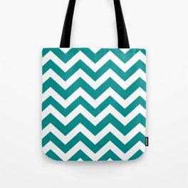 Dark cyan - green color -  Zigzag Chevron Pattern Tote Bag