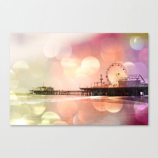 Sparkling pink Santa Monica Pier Canvas Print