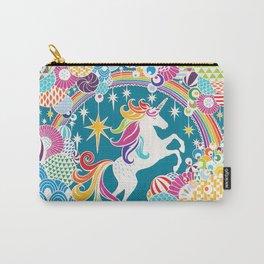 Rainbow Unicorn Hand-Cut Papercut Carry-All Pouch