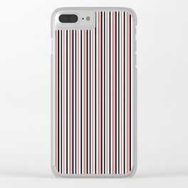 Red, black white striped pattern . Clear iPhone Case