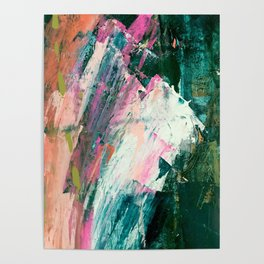 Meditate [2]: a vibrant, colorful abstract piece in bright green, teal, pink, orange, and white Poster