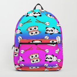 Cute funny Kawaii chibi little playful baby panda bears, happy cheerful sushi with shrimp on top, rice balls and chopsticks bright rainbow pattern design. Nursery decor. Backpack
