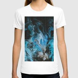 Blue Fire Abstract Marble Art T-shirt