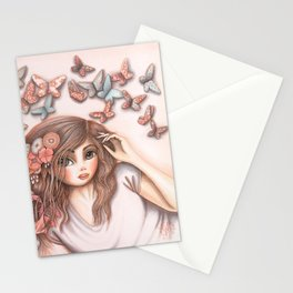 Paper Butterflies with girl Stationery Cards
