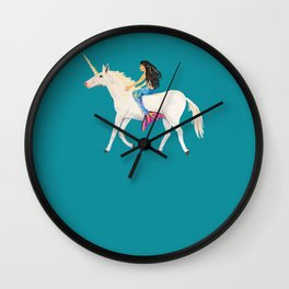 To the Land of Mermaids and Unicorns Wall Clock