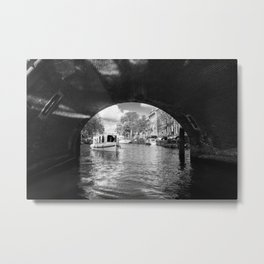 Tourboat about to go under a bridge on Amsterdam canal Metal Print