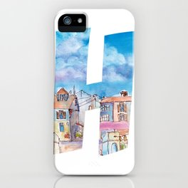 Letter H on white background with Houses drawing by watercolor. iPhone Case