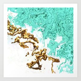 turquoise gold white abstract digital painting Art Print