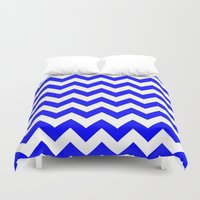 chevron Duvet Covers featuring Chevron (Blue/White) by 10813 Apparel