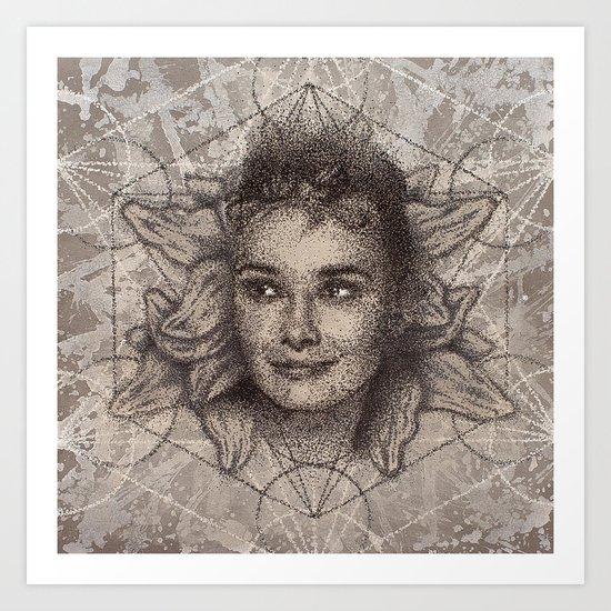 Audrey Hepburn dot work portrait Art Print