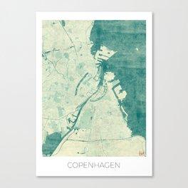Copenhagen Map Blue Vintage Canvas Print