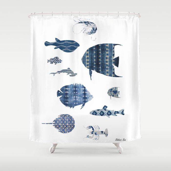 Shibori Sea Shower Curtain