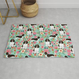 English Springer Spaniel florals cute dog art pet portraits by pet friendly dog breeds Rug