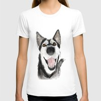 husky T-shirts featuring husky by Lupita Lopez