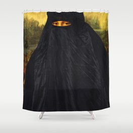 Mona Lisa Hides Her Smile Shower Curtain
