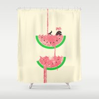 watermelon Shower Curtains featuring watermelon falls by Jonah Makes Artstuff