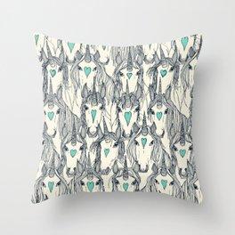 unicorn love indigo mint pearl Throw Pillow