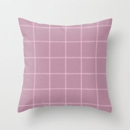 French Pink Linen Check Throw Pillow