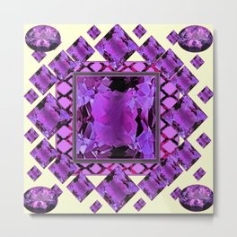 ART DECO PURPLE AMETHYST FEBRUARY GEM BIRTHSTONE MODERN ART Metal Print