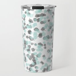 Teal and Grey Ink Drops Travel Mug