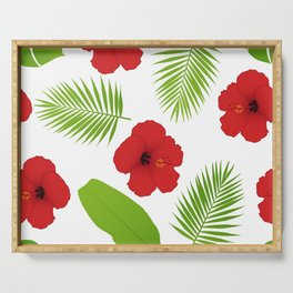Red hibiscus and palm leaves seamless pattern. Serving Tray
