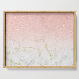 Rose Gold Glitter and gold white Marble Serving Tray