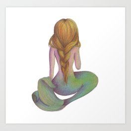 Yellow Haired Mermaid Art Print