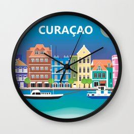Curacao - Skyline Illustration by Loose Petals Wall Clock