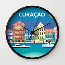 Curacao - Skyline Illustration by Loose Petals Wall Clock
