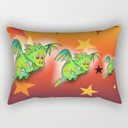 Happy green cartoon baby dragon with stars Rectangular Pillow