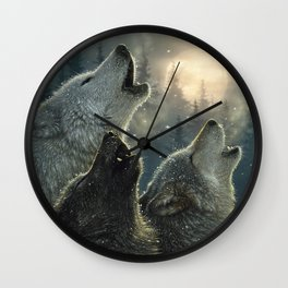Wolves Howling Moon - In Harmony Wall Clock