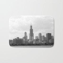 Chicago Skyline Black and White Bath Mat